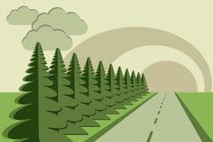 Road fir trees sky papercraft. Paper craft road sun clouds fir tree vector image Stock Images