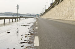 Road in flood Royalty Free Stock Photo