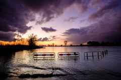 Road flooded after the rain Royalty Free Stock Image