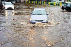 Road flooded with rain Stock Photos