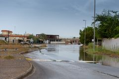 Road flooding in the UAE royalty free stock photo