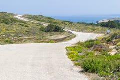 Road, flowers and beach in Arrifana. Aljezur, Algarve, Portugal Stock Image