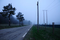 Road in fog. Royalty Free Stock Photo
