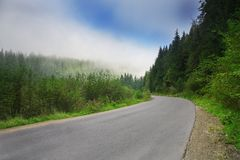 Road with fog in mountains, with dense pine forest on the rocky slopes of the mountains. Idea for outdoor activities, tourism, tra. Road with fog in mountains stock photography