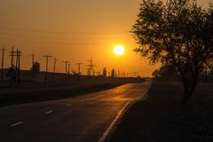 The road in the fog. Sunset. The sun. royalty free stock image