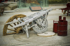 Old wooden ONE-wheeled cart Royalty Free Stock Photo