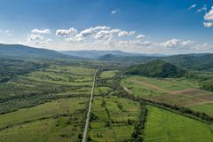 Road and forest aerial view. Drone photo. Road and forest aerial view. Picture taken with a drone royalty free stock photography