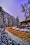 Road through forest in winter. Scenic view of curving road through forest in winter scene Royalty Free Stock Photo