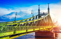 Road at Freedom bridge in Budapest Royalty Free Stock Images
