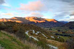 Road Freeway New Zealand. Perspective of Highway Road Freeway  to Arrow Town with Sunrise Mountain Landscape New Zealand Stock Photography