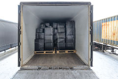 Road freight trailer loaded with boxes. Stock Image