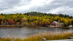 On the road, Front of the lake, autumn colors, Tadoussac Quebec Stock Photos