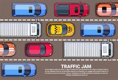 Road Full Of Cars And Trucks Top Angle View Traffic Jam On Highway. R Flat Vector Illustration Royalty Free Stock Photography