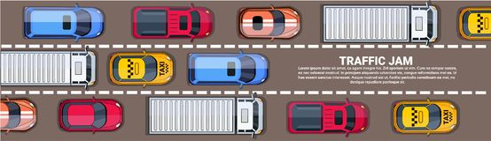 Road Full Of Different Cars Top Angle View of Traffic Jam On Highway Horizontal Banner. Flat Vector Illustration Stock Photography