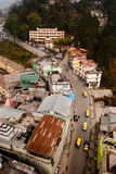 Road at Gangtok, Sikkim, India. A top angle view of the main Road (a national highway) between hills connecting to Gangtok, Sikkim with rest of India Royalty Free Stock Images