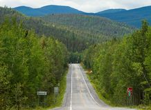 Road  through Gaspesie National Park. In Quebec, Canada Royalty Free Stock Images