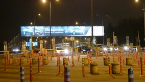 Road gate on exit from airport Seremetyevo. stock video footage