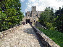 Road and gate of Strecno Castle Royalty Free Stock Photo