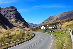 Road through the Scottish Highlands, Glencoe, UK. Road through Glencoe in Scottish Highlands, UK stock images