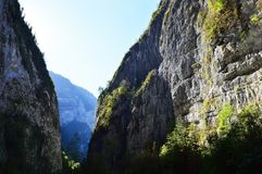 The road goes through the gorge of the Caucasus mountains royalty free stock photography