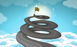 Road goes up in the sky. Illustration Stock Photos