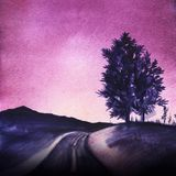 The dark blue silhouette of the mountains and two lush deciduous trees on a hill on a bright purple sky background. The road going far The dark blue silhouette royalty free illustration