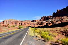 Road going thru Capitol Reef National Park stock images