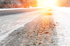 The road going to a distance,  solar luminescence Royalty Free Stock Images