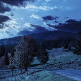 Road going to mountains at night Stock Image