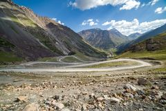 Road going to Sary-Moinok pass. Kirgizstan Stock Photo