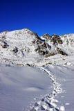 Road going up the mountains through deep snow in Retezat mountains, Romania Stock Photos
