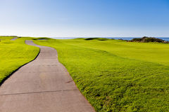 Road at he golf course. Curving road at the beautiful golf course Stock Photos