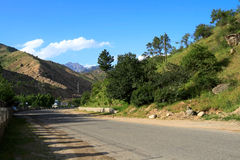 Road in gorge. In the summer, Tajikistan Royalty Free Stock Image