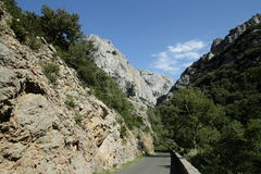 Road in Gorges de Galamus, France Royalty Free Stock Photos