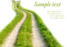 Road with grass on white. Background with sample text Royalty Free Stock Image