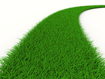 Road from grass on white. Isolated 3D Royalty Free Stock Photography