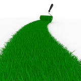 Road from grass on white. Isolated 3D Stock Photography