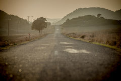 Road and grazing light. Endless road unfolding in a grazing light (Cyprus Royalty Free Stock Images