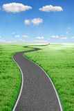 Road and green field. 3d Landscape Stock Images