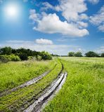 Road in green field royalty free stock photo