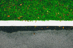 Road and green grass. Background Stock Photos