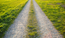 On The Road - green grass road Stock Photos