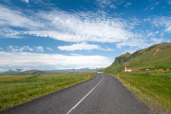 Road and green hills, South Iceland Royalty Free Stock Photography
