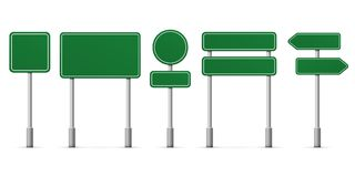 Road green signs vector icons. Road green signs. Vector blank isolated icons template Stock Photo
