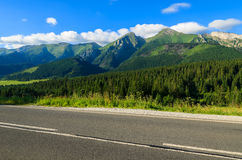 Road in green summer landscape of Tatra Mountains in Zdiar village, Slovakia Royalty Free Stock Photo