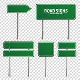 Road green traffic sign. Blank board with place for text.Mockup. Isolated on transparent background information sign Royalty Free Stock Photo