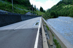 Road with guardrail. Street with guardrail in austria Royalty Free Stock Photo