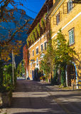 Road in Hallstatt Along the Waterfront Royalty Free Stock Image