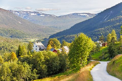 Road and halmet around Stalheim in  Norway Stock Image