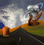 Road and hand sculpture Stock Photos